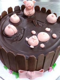 Super birthday cake decorating ideas for women chocolate ganache 35 Ideas Pig Birthday Cakes, Pretty Birthday Cakes, Homemade Birthday Cakes, Happy Birthday Cakes For Women, Fondant Cakes, Cupcake Cakes, Pig Cakes, Chocolate Fondant, Chocolate Ganache