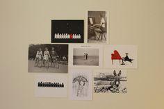 Collagemuur zwart-wit foto's, kaartjes...