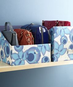 Storing Handbags (Container Store) or you could use covered boxes cut to size Organizing Purses In Closet, Purse Organization, Closet Storage, Organize Purses, Bathroom Storage, Organizar Closet, Magazine Files, Handbag Storage, Diy Handbag