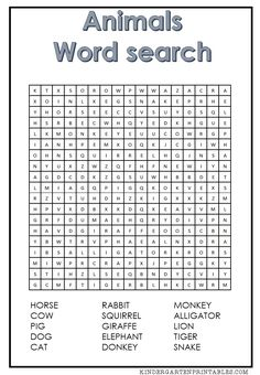 Test your students word finding skills with this free printable Animal word search . This is a fun activity to be used with your education plan or just as a fun puzzle to … Free Printable Word Searches, Free Printable Worksheets, Free Printables, Animal Worksheets, 1st Grade Worksheets, Childrens Word Search, Kindergarten Word Search, Free Word Search, Summer Words