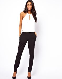 { ASOS Jumpsuit With Halter in Monochrome }