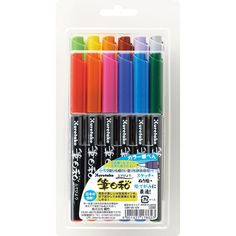 Amazon.com : Kuretake Fudebiyori Bush Pen, 12 Color Set (CBK-55/12V) : Artists Pens : Office Products
