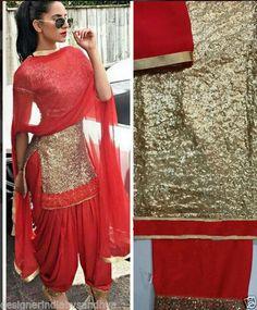 Punjabi Patiala Bollywood Designer Indian Embroidery full sequin SALWAR KAMEEZ