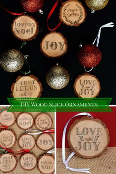 Make these rustic DIY wood ornaments out of wood slices, printed designs, eye hooks, and ribbon.  An adorable, easy, and festive Christmas craft.