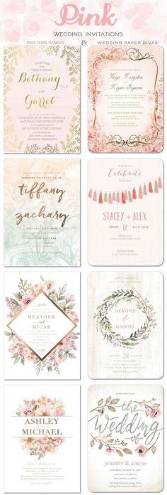 Pink wedding color ideas - Pink wedding invitations / http://www.deerpearlflowers.com/wedding-paper-divas-wedding-invitations/2/