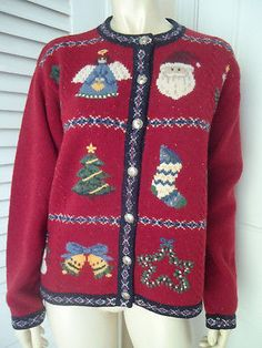 TALBOTS PETITES Sz M Sweater Cardigan Lambswool Christmas Motif Buttons UGLY