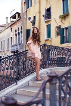 Venice Day 1: An Awakening of the Senses — Negin Mirsalehi. This peach crochet dress and Valentino Va Va Voom Bag.