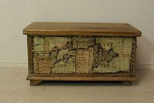 Beautiful antique hand carved solid wood indian chest storage trunk