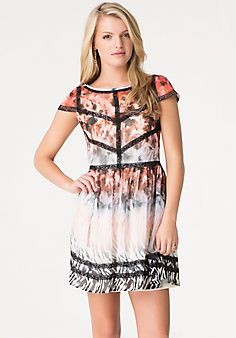 Safari Print Chiffon Dress