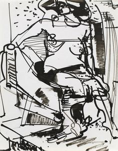 Hans Hofmann (1880-1966)  Untitled Figure  circa 1934 India Ink on Paper  11 x 8 1/2 in