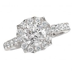 Halo Complete Diamond Ring $4,182 Style: 118223-040C Romance Complete Round Diamond Ring with Scalloped Halo in 14kt White Gold. (D. 7/8 carat total weight includes D.3/8 carat round center)