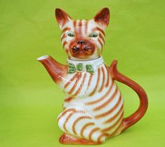 Beautiful vintage cat teapot by Tony Wood, circa 1982. Striped Tom Cat w/ bow tie. Animal Teapot Tea Pot.