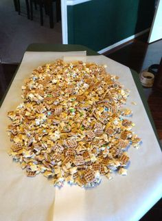 A family favorite treat - White Trash - pretzels, plain M&Ms, mixed nuts, rice chex and corn chex - melt 4 cups of white chocolate chips and mix together.  Spread out on parchment paper to cool and then dig in!!