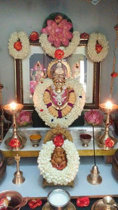 Varalakshmi Vratham 2019 honours the most popular Goddess Maha Lakshmi. Varalakshmi Puja or homam on this day means abundant wealth is sure to come your way. Housewarming Decorations, Diwali Decorations, Festival Decorations, Flower Decorations, Wedding Decorations, Rangoli Designs Flower, Flower Rangoli, Mandir Decoration, Diwali Pooja