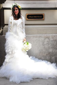 The Man Repellers Marchesa wedding gown and a Rebecca Minkoff white biker jacket. Nothing compares.