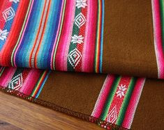 South American Fabric, Peruvian Fabric, Aguayo, Woven Textile, Chocolate Brown
