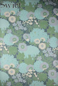 Blauw vintage bloemen behang | Swiet