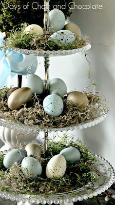 Touches of Spring Decor / Dekoration für Ostern mit einer Etagere <3