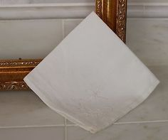 Antique White Cotton Handkerchief with White Embroidery