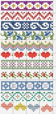 Cross stitch pattern and granny square diagram for Handmade Fair Fair Isle Knitting Patterns, Bead Loom Patterns, Knitting Charts, Knitting Stitches, Beading Patterns, Embroidery Patterns, Crochet Patterns, Paper Embroidery, Doily Patterns