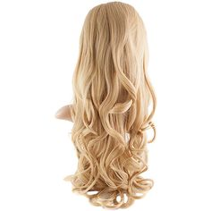 Eva Long Loose Curls Half-Head Wig In #611/KB88 Golden Blonde ($38) ❤ liked on Polyvore featuring beauty products, haircare and hair styling tools
