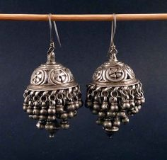 Old Rajasthani earrings from India, made of silver. Nice embossed and etched work on good silver. The earrings are 6 cm long including the loop Ethnic Jewelry, Silver Jewellery Indian, Indian Earrings, Silver Jewelry, Silver Ring, Silver Earrings, Silver Necklaces, 925 Silver, Sterling Silver