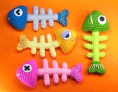 Fish Bone Crochet Pattern PDF by stripeyblue on Etsy.  via Etsy. Would make great appliques on a crocheted cat bed.