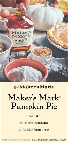 If you are in search of delicious holiday desserts, look no further than the Maker's Mark bourbon pumpkin pie. Pumpkin Recipes, Pie Recipes, Fall Recipes, Holiday Recipes, Dessert Recipes, Cooking Recipes, Thanksgiving Desserts, Holiday Desserts, Holiday Baking