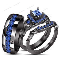 Sapphire Trio Set His Her Matching Engagement Wedding Ring 10k Black Gold 1.77Ct #Silvergemsjewelry #WeddingEngagemnetAnniversaryBrithdayPartyGift