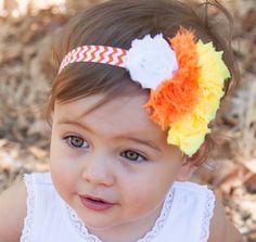 Candy Corn Headband, Halloween Headband, Halloween Bow, Baby Girl Halloween Headband, Newborn Halloween Headband, Candy Corn Bow