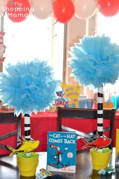 The Best Dr. Seuss Party! | Trufulla trees, paired with some Dr. Seuss books, made a great centerpiece for the table.
