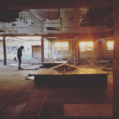 Instagram #skateboarding photo by @guidancetogoodness - My man cuts a lonely figure in an abandoned holiday camp as golden sunset pours in #hidden #abandoned #skateboarding #sunset #grafitti #discover #memories #sad #forgotten. Support your local skate shop: SkateboardCity.co