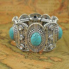 Bracelet en alliage de zinc, avec turquoise & fil élastique, Placage de couleur platine