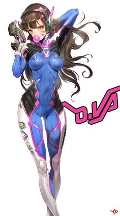 arm up armpits bodysuit breasts brown eyes brown hair bubble blowing cameltoe character name chewing gum covered navel d.va (overwatch) facial mark gluteal fold gun hair flip hand in hair headphones highres holding holding gun holding weapon long hai Chica Anime Manga, Anime Art, Female Characters, Anime Characters, Overwatch Fan Art, Estilo Anime, Video Game Art, Game Character, League Of Legends