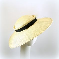Saucer Hat Vintage Style Natural 1950s Fashion Straw Hat for Women w Black Grosgrain Ribbon