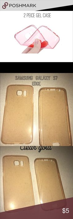 🎀2pc Samsung Galaxy s7edge case🎀 Good condition clear gold color that fits over your Samsung Galaxy S7 Edge phone. Complete coverage all the way.   Stock photo shows flexibility and material  ❤️❤️❤️I bundle for cheap❤️❤️❤️ Accessories Phone Cases
