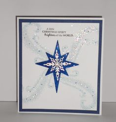 Stampin Ups! Holiday Catalog Star of Light stamp and die combo set with instructions on how to make this card! This card is full of sparkle!!!!