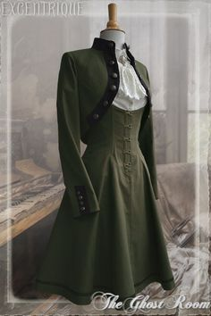 dark olive green corset skirt and matching military style long sleeved bolero jacket with black velvet trim and pewter buttons