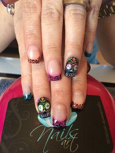 Nails art, acrylic nails, nails, dia de muertos nails