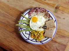 egg and asparagus are key ingredients for a morning start