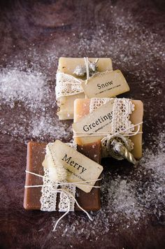 Make the perfect stocking stuffer with a beautifully wrapped homemade soap. Dress your soaps up for the holidays with a little twine, some lace, and a few mini ornaments with the ideas in Willow and Sage Winter 2015.