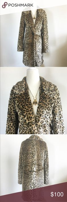{Express} Cheetah faux fur coat This is such a fun coat! It will definitely get you noticed!! (Is that real cheetah?! No sir, no it is not.) You could be completely over the top and wear this with a slinky black dress and gold heels (see my nwob jessica Simpson ones) or a conservative brown suede skirt and black turtle neck. A really special piece! Express Jackets & Coats Trench Coats