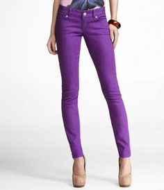 I wonder if I could pull these off. lov'n the purple The Purple, Bright Purple, Bright Spring, Spring Colors, Magenta, Spring Summer, Purple Skinny Jeans, Low Rise Skinny Jeans, Lila Jeans
