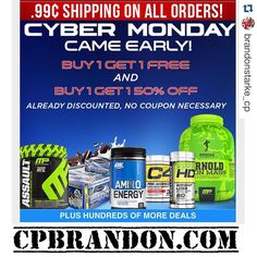 At cpbrandon.com Cyber Monday came early!! Plus we extended the Black Friday deal! Supps are flying off the shelf so hurry and place your orders! #campusprotein #teamcpsouth #isatori #cellucor #musclepharm #muscletech #optimumnutrition #prosupps by brandonstarke_cp