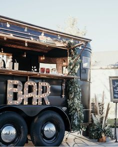 Here is an image of one of our mobile bars, the Black and Tan. This was taken near Sacramento, Ca. by Claire Nicole Photography. Cozy Coffee Shop, Coffee Box, Coffee Truck, Converted Horse Trailer, Mobile Shop Design, Blow Bar, Mobile Barber, Coffee Trailer, Trailer Decor