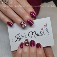 CND Shellac Rockstar manicure with glitter fade and hand painted nail art - By Jo Wickens @ Jojo's Nails - www.jojosnails.com