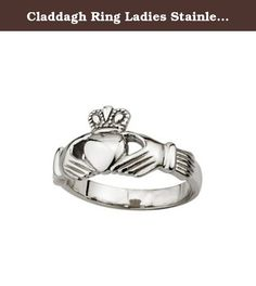 Claddagh Ring Ladies Stainless Steel Sz 4-9 Made in Ireland. Made in Ireland by Solvar Ltd., a family owned company based in Dublin, Ireland since 1941, this no-nonsense ladies' stainless steel Claddagh can also be worn by men, as it's both durable and beautiful. Claddagh rings are used to represent many kinds of relationships. Friendship: if worn on the right hand with the heart facing outwards, the wearer is single and looking for love; the heart facing inwards means the wearer is in a...