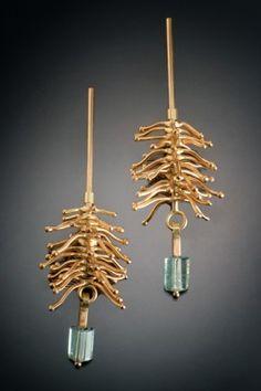 Gold Hibiscus earrings, aquamarine beads