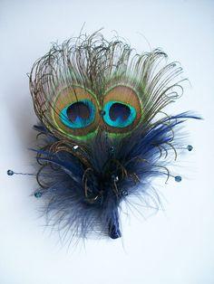 Navy Blue Peacock Feather & Crystal Burlesque Wedding Fascinator Hair Comb - Custom Made to Order. $28.00, via Etsy.