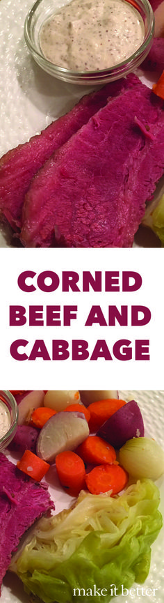 Wonderfully hearty and home braised corned beef and cabbage one pot meal with a from scratch Horseradish sauce perfect for St. Patrick's Day.